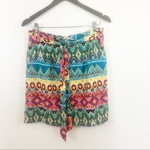 Emmelee Boho tie belt front mini skirt large
